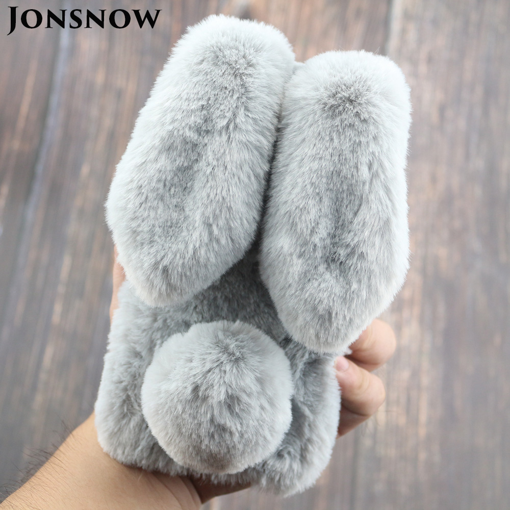 For iPhone 7 8 3D Rabbit Hairy Warm Winter Fur Bling Rhinestone Plush Phone Cover for iPhone XS XR 5S SE 6S 7P 8 Plus Cases
