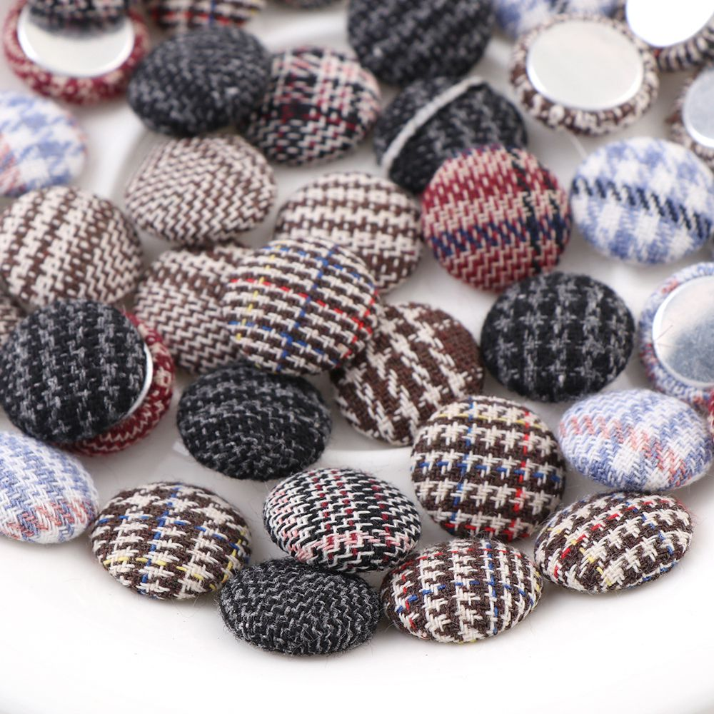 Apparel Sewing & Fabric Arts,crafts & Sewing Trustful 15/20/25mm Mix Color Lattice Round Buttons Fabric Scrapbooking Fabric Covered Buttons Lace Button For Diy Sewing Accessories