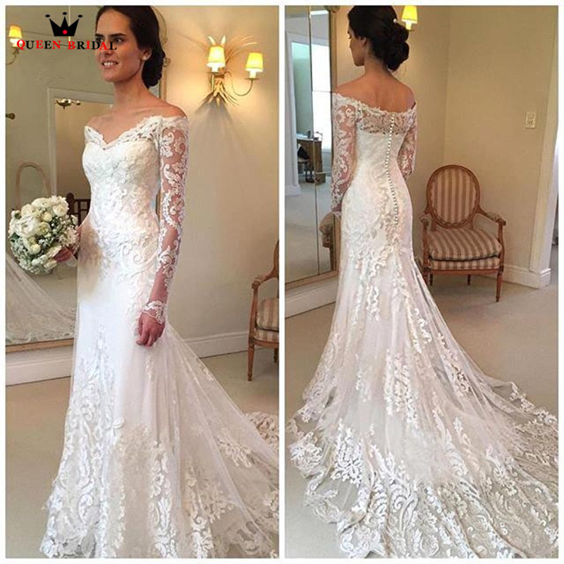 Mermaid fishtail pearls beaded lace applique wedding gown ...