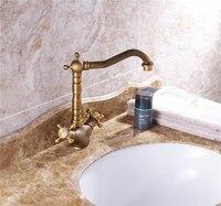 Copper Faucet Antique Faucet Bathroom Kitchen Single Hole Under Counter Basin Faucet Spiral Double Handle Hot And Cold Faucet