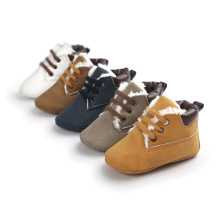 2017 Autumn Winter Khaki Lace Up Baby Boots Warm Baby Boys Cotton Shoes Fleece Leisure Toddler Shoes Soft Indoor Footcovers