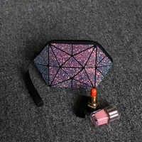 geometric cosmetic bag for women sequin glitter makeup bao bag for ladies