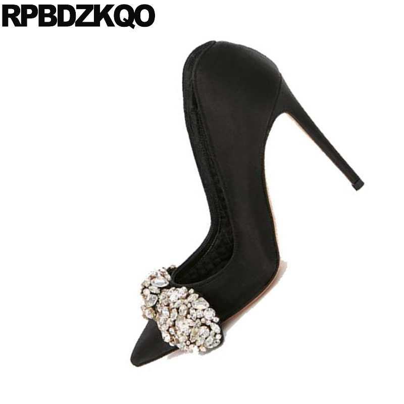 4bf922cf99 ... Evening Pumps High Heels Black Pointed Toe Diamond Party Sexy Women  Shoes Rhinestones Bow Satin Stiletto
