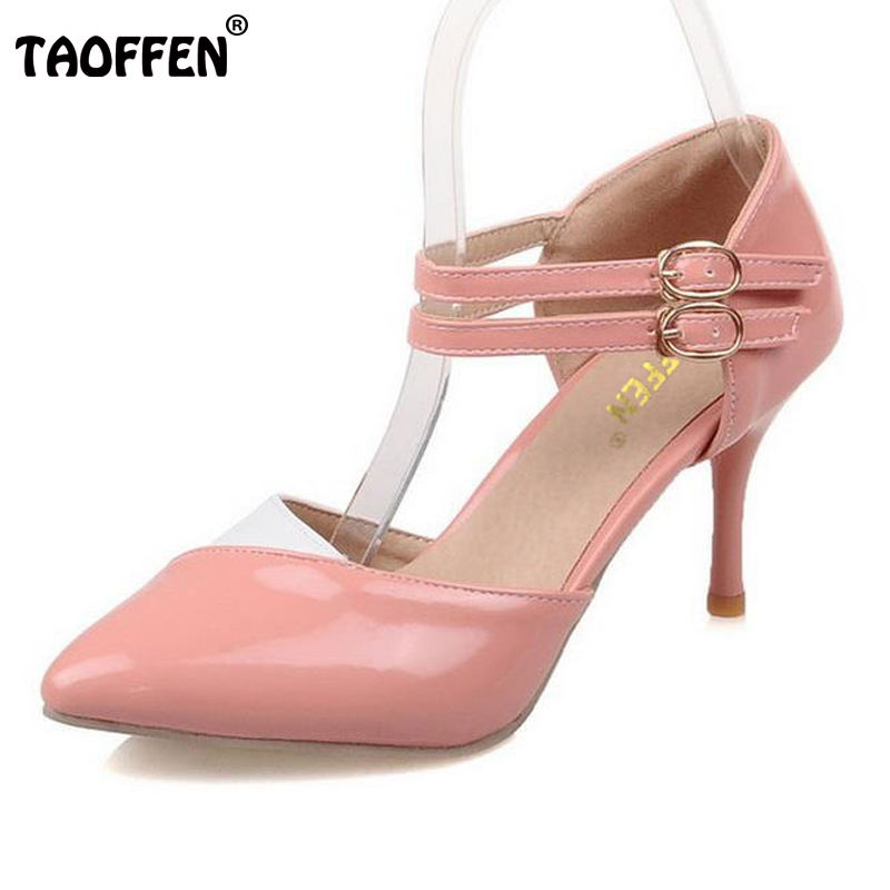 TAOFFEN Size 30-48 Ankle Straps High Heels Sandals Summer Shoes Ladies Pointed Toe Patent Leather Party Wedding Shoes PA00601 wholesale lttl new spring summer high heels shoes stiletto heel flock pointed toe sandals fashion ankle straps women party shoes