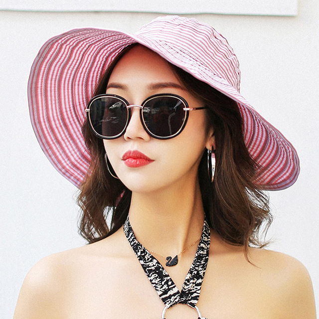 1eb741a1 2018 Fashion Hats Summer For Women Striped Adjustable Girls Summer Hat  Large Brimmed Hat On The Beach