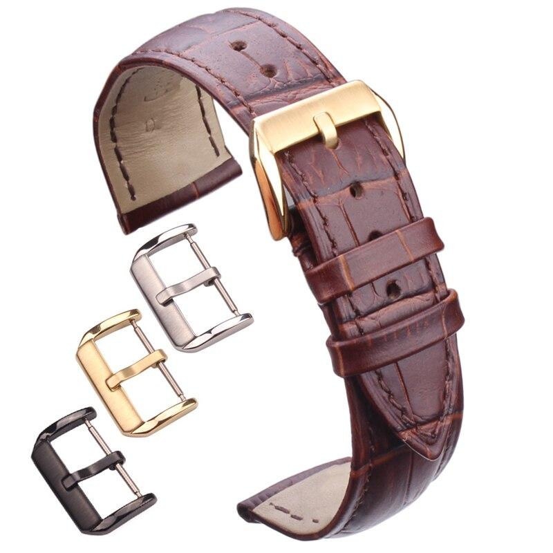 Hight Quality Genuine Leather Watchbands Men Women Brown Black Waterproof Watch Band Strap 18mm - 24mm Belt Steel Pin Buckle цена