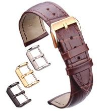 Hight Quality Genuine Leather Watchbands Men Women Brown Black Waterproof Watch Band Strap 18mm - 24mm Belt Steel Pin Buckle цена в Москве и Питере