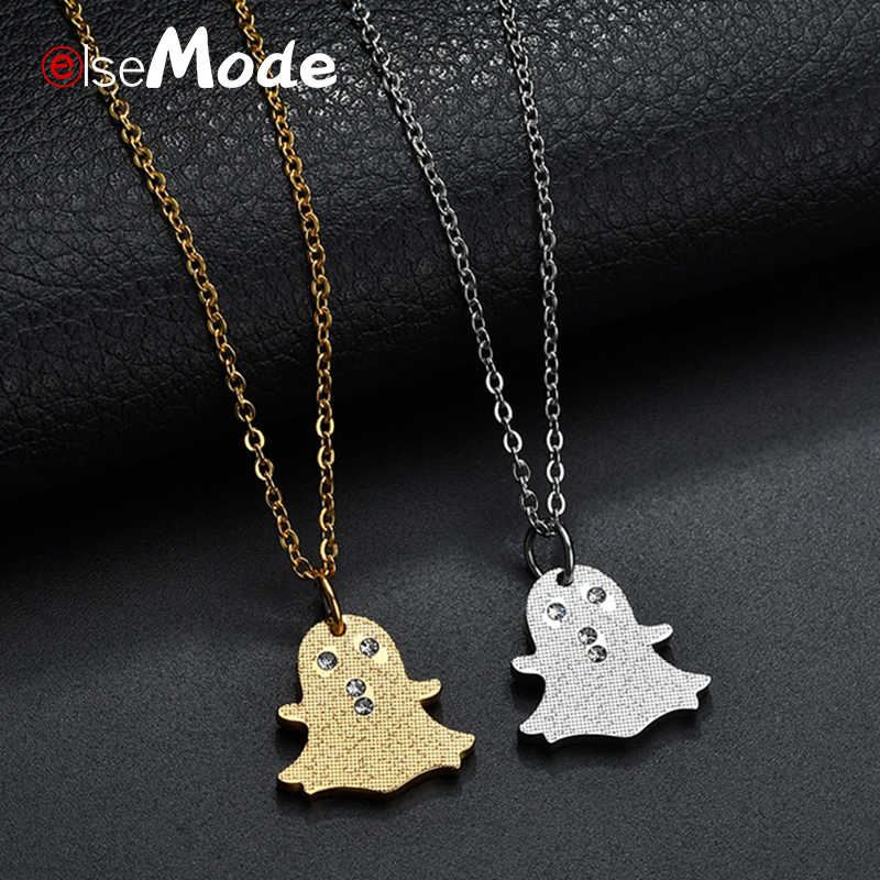 ELSEMODE Tiny Ghost Pendant Necklaces Rhinestone Stainless Steel Sweater Necklace For Children Collier Birthday Christmas Gifts