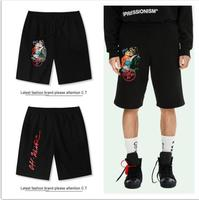 OFF WHITE C/O VIRGIL ABLOH OW 19ss Streetwear Print Stripe Loose Sports Shorts Beach Shorts Men Sports Shorts