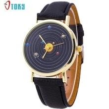Fashion Unique Design Women Watches Space Watch Star Gold Dial PU Leather Clock Analog Quartz Wrist Watch Creative Mar16