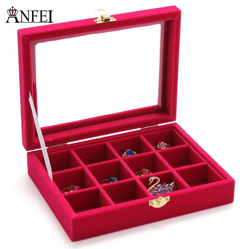 ANFEI Jewelry Box Glass Cover 12 Grids Jewelry Box Place Bracelet