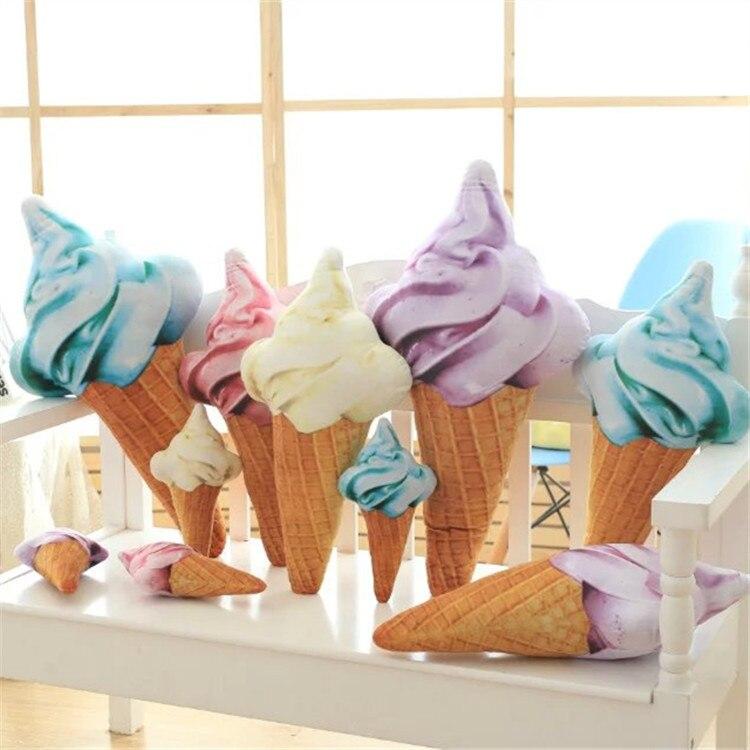 Image 2 - Синий желтый красный фиолетовый мороженое конус плюшевая игрушка подушка диванная Подушка декоративная подушки для дивана девочек детей-in Подушка from Дом и животные