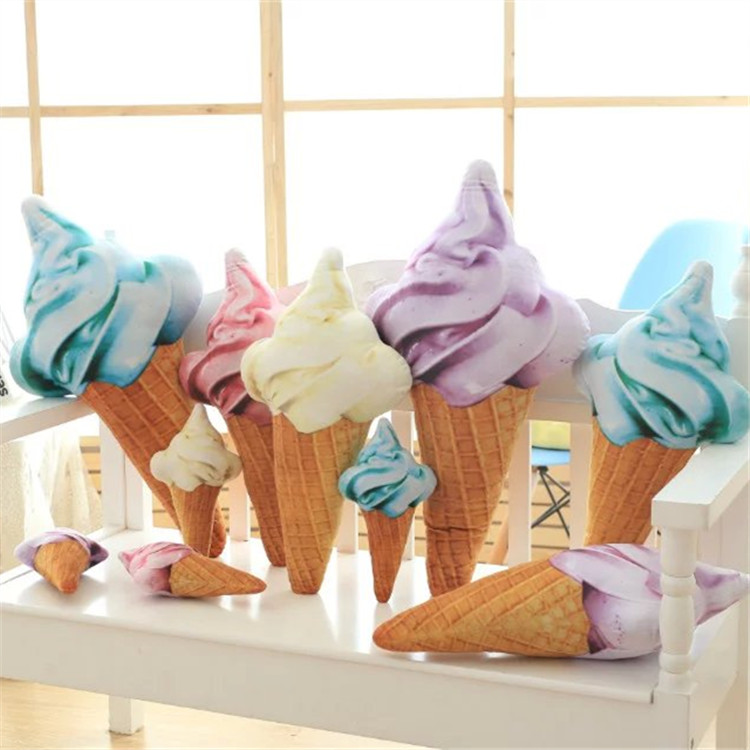 Image 2 - Blue Yellow Red Purple Ice Cream Cone Plush Toy Pillow Sofa Cushion Decorative Cushions For Sofa Girls Children-in Cushion from Home & Garden