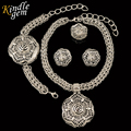 2017 Charming Dubai Silver Plated Jewelry Sets Trendy Big Pendant Choker Necklace Sets Fashion African Jewellry For Women