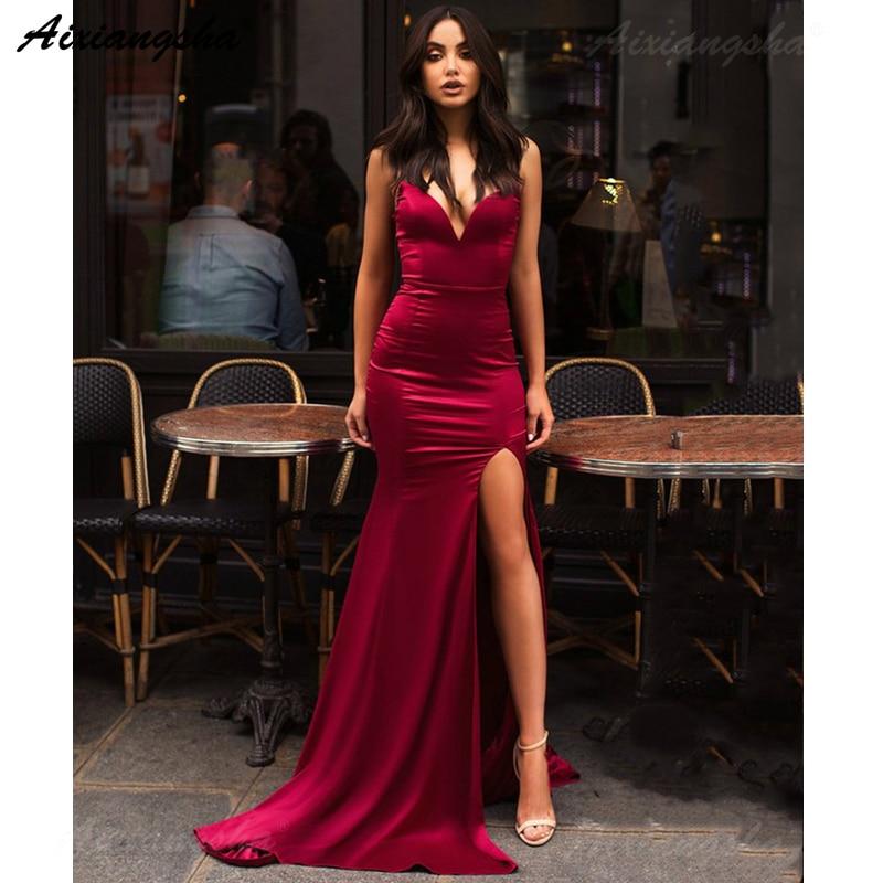 Burgundy   Evening     Dresses   2019 Off Shoulder Sweetheart Long Mermaid Prom   Dress   with Slit   Evening   Gown Formal   Dress