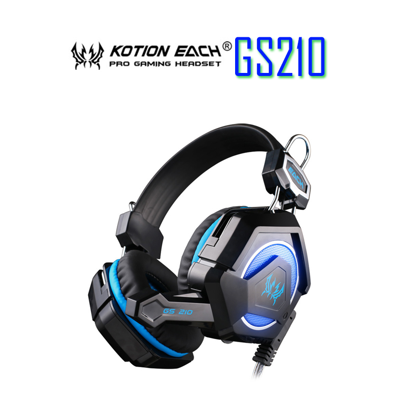 KOTION EACH GS210 Stereo Gaming Headphone Computer Game Headset Headband with Microphone Colorful Breathing LED Light