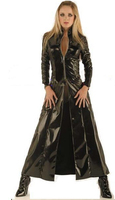 2015 New Walson Instyles Black Red Faux Leather Pvc Long Gothic Coat Fancy Dress For Men