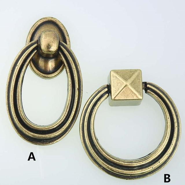 Vintage Style Drop Rings Furniture Handles Bronze Drawer Cabinet Knobs Pulls  Antique Brass Dresser Door Handle
