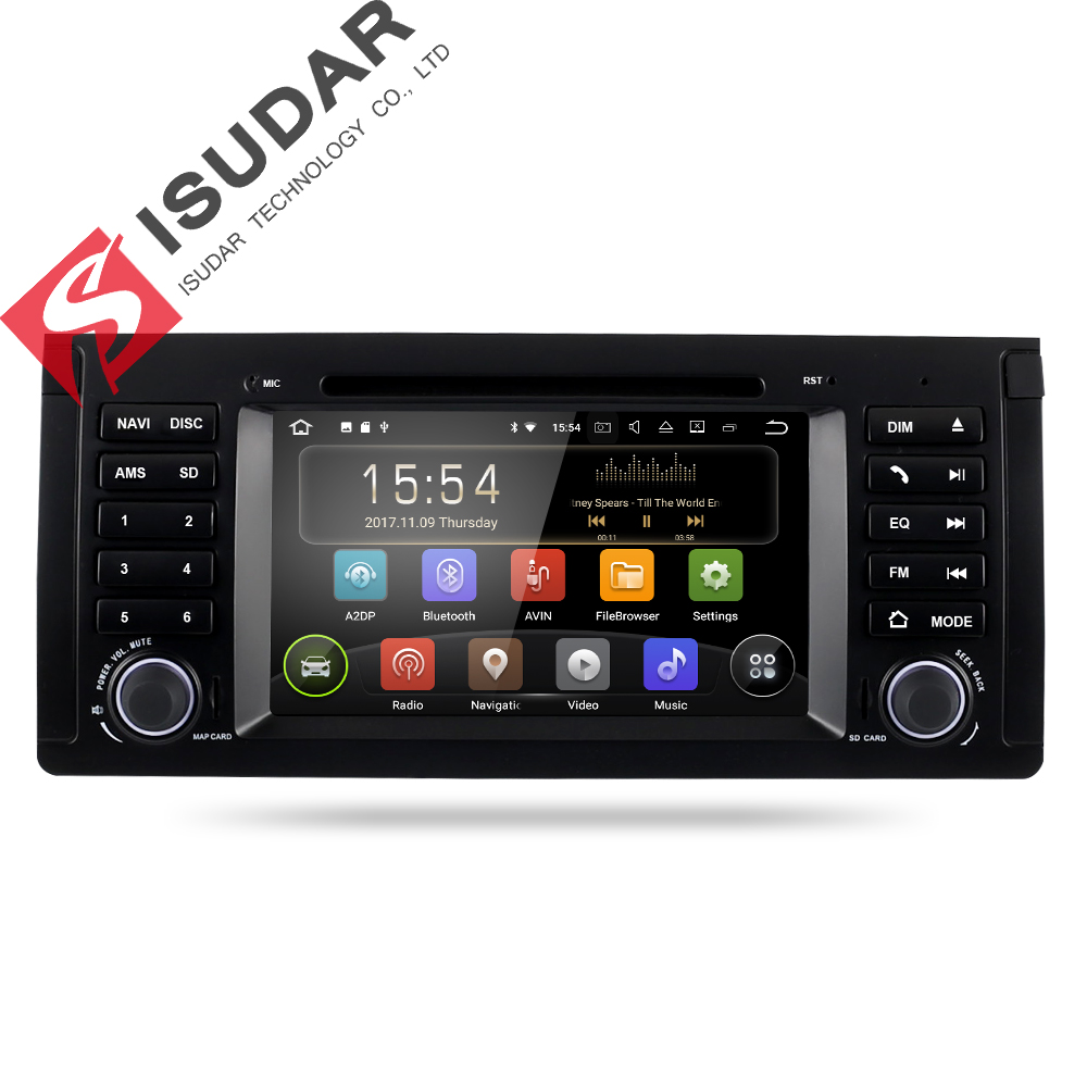 Isudar Car Multimedia Player Car Radio 1 Din Android 7.1.1 For BMW/X5/M5/E39 DVD Player GPS DAB DSP USB DVR Quad Cores FM 2+16GB
