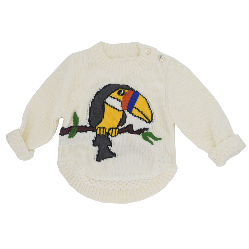 2018 Autumn Sweaters For Girls Cartoon Parrot White Sweater Knitted Bird Baby Girl Sweater Kids Jumper