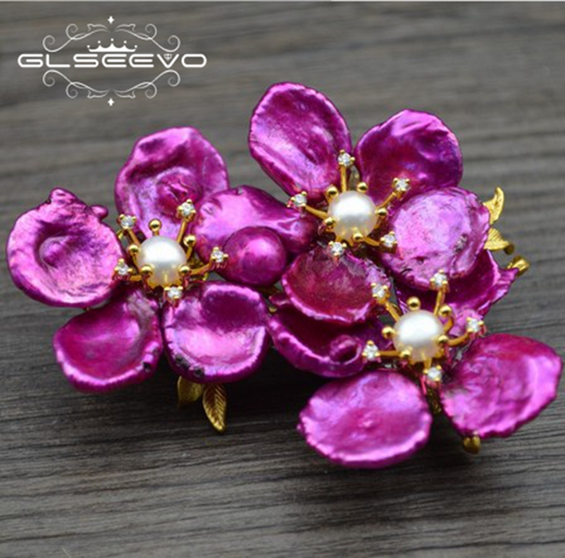 GLSEEVO Natural Fresh Water Baroque Purple Pearl Flower Brooch Pins And Brooches For Women Dual Use Luxury Fine Jewelry GO0295 glseevo natural rhodochrosite fresh water pearl leaf brooch pins and brooches for women gift dual use luxury fine jewelry go0185