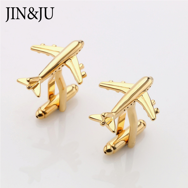 JIN&JU Men Jewelry Airplane Design Aeroplane Wedding Jewelry Two Color Imitation Plated Style For Men Plane Cuff Links