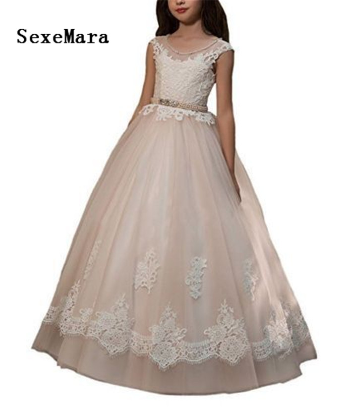 Elegant Lace Applique Floor Length Flower Girl Dress Lace Open Back Wedding Birthday Pageant Gown Communion Dress vector control frequency converter 220v single phase to 220v three phase 220v 0 75kw