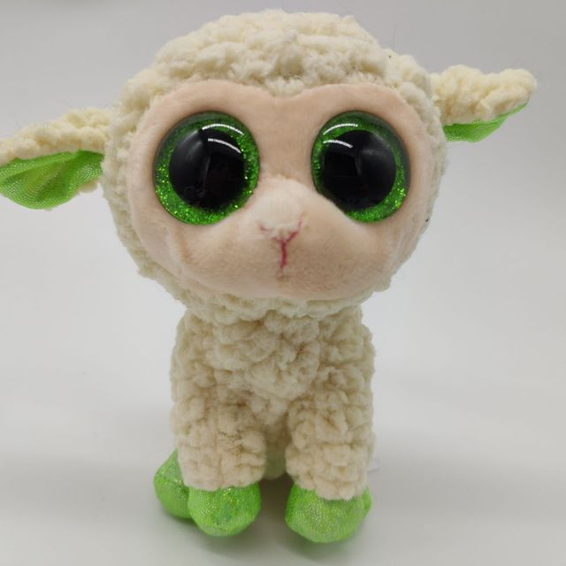 Ty Beanie Boos 1pc 15cm Big Eye Lala Sheep White Lamb Stuffed