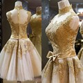 High Quality Cute Homecoming Dresses A Line Short High Neck Sheer Illusion Lace Appliques 2017 Gold Prom Dresses Real Photo 7935