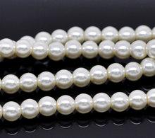 Elfenbein Glas Perle Imitation Runde Perlen 8mm 82 cm (32-1/4