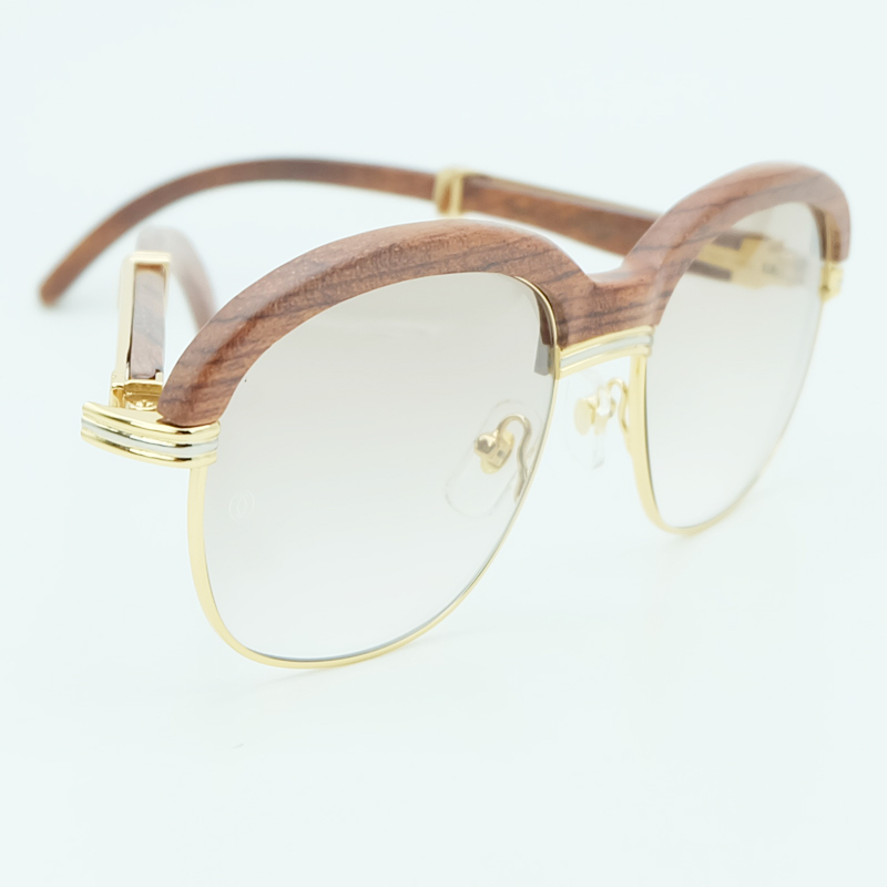 Holz Sonnenbrille Rahmen Holz Sonnenbrille Männer Rosa Sonnenbrille für Herren Fashion Shades Sonnenbrille Frauen Urlaub Zubehör - 2
