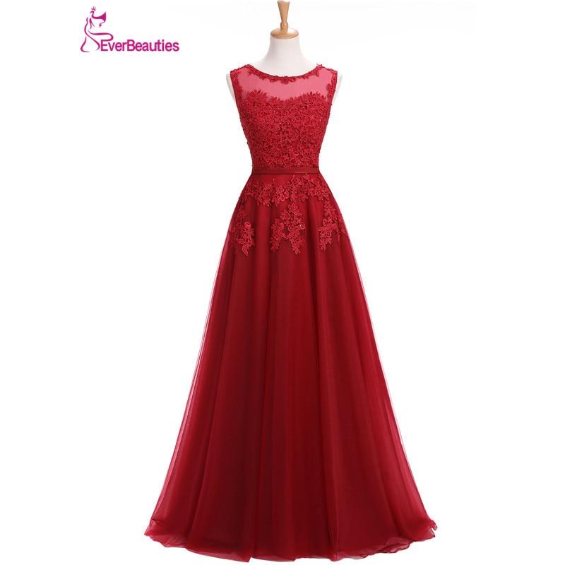 Vin rouge Robe De soirée dentelle Appliques Robe De soirée longue Tulle fête robes De soirée 2019 rose