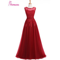 Wine Red Evening Dress Lace Appliques Robe De Soiree Long Tulle Party Evening Dresses 2019 Pink
