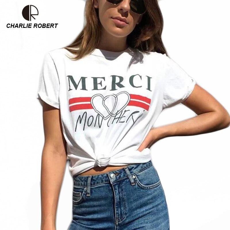 CR 2018 Women Plus Size XS 4XL Cotton T-Shirt Summer O-Neck Tee T shirt Casual T Shirt Letter Top Drop Shipping cotton letter patterned t shirt