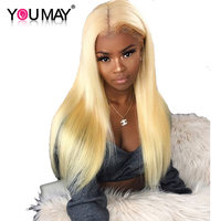 613 Blonde Wig 150% Density Straight Colored Brazilian Lace Front Human Hair Wigs With Baby Hair For Women You May Remy Hair