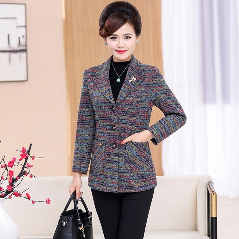 Spring Autumn Woolen Suit Coat Women Plus Size 5XL Slim Long Sleeve Middle Age Clothes Medium Length Elegant Blends Wool Jacket