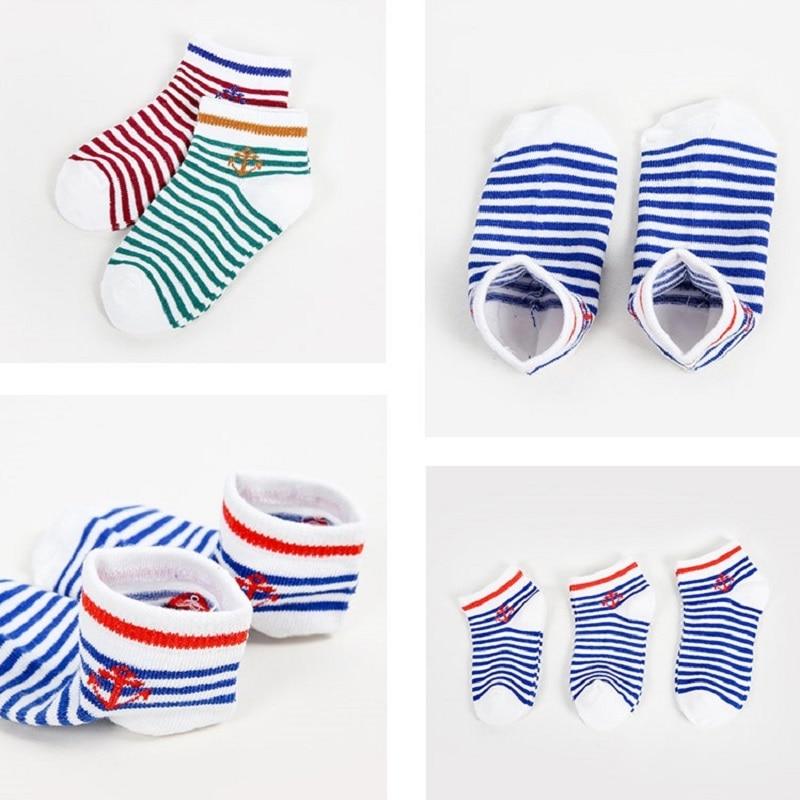 5 pairs lot New Cotton Brand Soft Boys Girls Socks Cute Anchor Stripe Stars Summer Kids Socks Baby Boy Styles Warm Socks 1-9Y 6