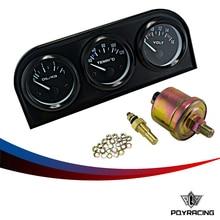 PQY RACING-52mm dreifachanzeige 3 in 1 (ölpresse Messer + Wassertemperaturanzeige + Volt Meter) Sensor 52mm Auto Gauge Auto Meter PQY-TAG02
