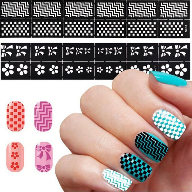 2 Sheet New Professional DIY Design Nail Stickers Stencil Hollow Template Art Decal Tool