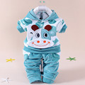 2016 Baby Girls Clothing Cartoon Kitty Rabbit Cow Newborn Boy Brand Velvet Hooide + Pants Twinset Kids Infant Sport Suit