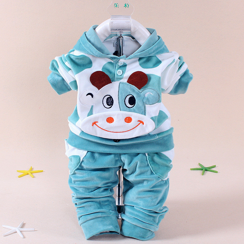 YZXY 2016 Baby Girls Clothing Cartoon Kitty Rabbit Cow Newborn Boy Brand Velvet Hooide + Bukser Twinset Kids Infant Sport Suit