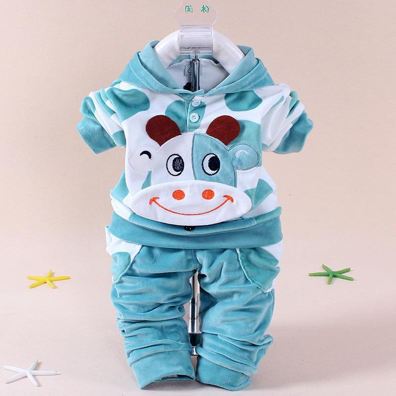 YZXY 2016 Baby Flickor Kläder Tecknad Kattunge Kanin Nyfödd Pojke Brand Velvet Hooide + Byxor Twinset Kids Infant Sport Suit