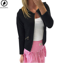 2017 New Plaid Women Thin Coats Short Jackets Casual Slim Blazers Suit Cardigans 2017 Female Outwear Black White Plus Size(China)