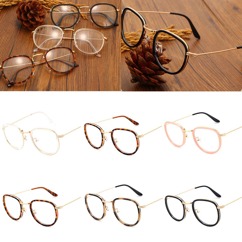 Vintage Clear Lens Eyeglasses Frame Retro Round Men Women Eyewear Nerd Glasses