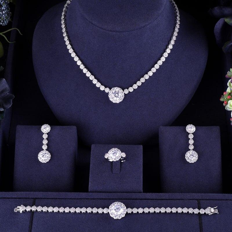 Accessoires goutte d'eau grand 4 pièces ensembles de bijoux en zircone de mariée femmes fête dubaï nigéria CZ cristal bracelet de mariage bague collier