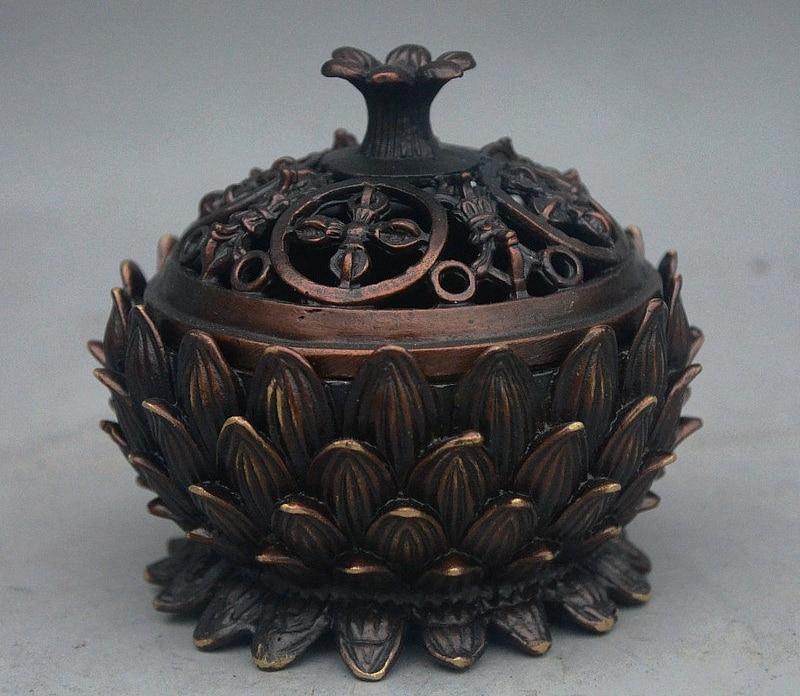 10cm Tibet Buddhist Bronze Auspicious Lotus flower shaped Incense Burner Censer10cm Tibet Buddhist Bronze Auspicious Lotus flower shaped Incense Burner Censer