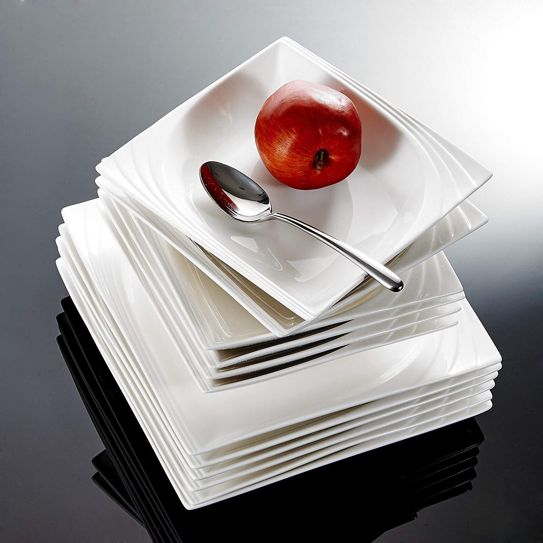 Monica MALACASA 12-Peça de Porcelana Branca China Cerâmica Jantar Combi-Set com 6-Peça Pratos de Sopa & pratos de jantar Serviço Definido para 6