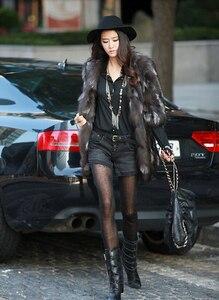 Image 4 - Veste longue en fourrure de renard naturelle, nouvelle mode femme, pour manteau chaud dhiver FP335