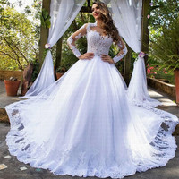 2019 New Amazing Train Wedding Dress Stunning Neck Vestido De Noiva Wedding Bridal Gowns