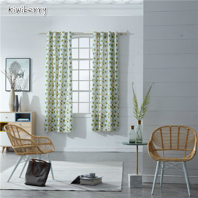 Modern Nordic Curtains Hook For Living Room Kitchen Bedroom Window Green Plant Yellow Plaid Sheer Tulle Panel 140x220cm